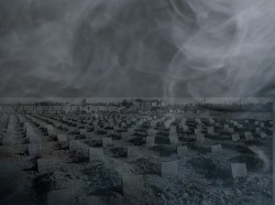 Smoke superimposed over a mass grave of ISIS fighters found in 2017 near Fallujah, Iraq, photos by Iraqi ministry of defence and Marina/Adobe Stock; design by Peter Soriano/RAND Corporation