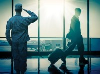 A saluting soldier and a civilian man in an airport, images by ViewApart and MariaArefyeva/Getty Images; design by Rick Penn-Kraus/RAND Corporation