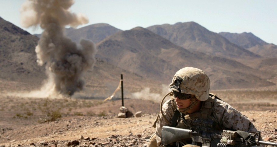 A rifleman with Bravo Company, 1st Battalion, 23rd Marine Regiment