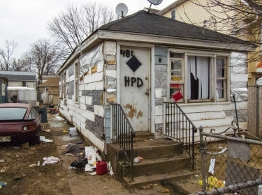 A Staten Island, N.Y. house destroyed by Hurricane Sandy