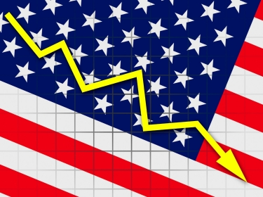 United States flag with downward arrow graph