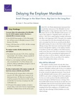 Cover: Delaying the Employer Mandate
