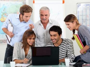 a group of teachers and a principal