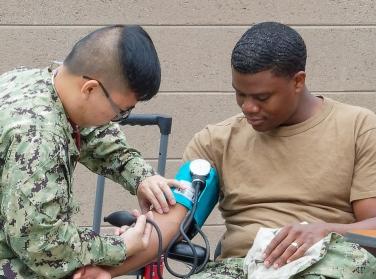 A blood pressure check at Naval Base San Diego