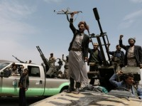 Houthi fighters during a gathering of Houthi loyalists on the outskirts of Sanaa, Yemen, July 8, 2020