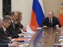 Russia's President Vladimir Putin holds a meeting with the Russian Security Council