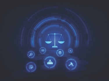 Icons representing areas of the criminal justice system on a dark blue background.