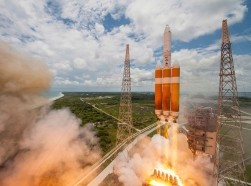 A United Launch Alliance Delta IV-Heavy rocket lifts off from Space Launch Complex 37B