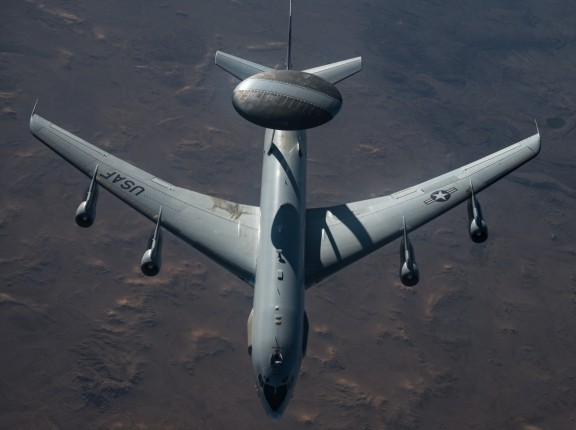 A U.S. Air Force E-3 Sentry flies over the U.S. Central Command area of responsibility Feb. 1, 2021. The E-3 Sentry is an airborne warning and control system aircraft with an integrated command and control battle management surveillance, target detection and tracking platform, photo by Staff Sgt. Sean Carnes/U.S. Air Force