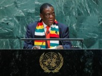 Zimbabwean President Emmerson Mnangagwa addresses the 74th session of the United Nations General Assembly at U.N. headquarters in New York City, New York, September 25, 2019