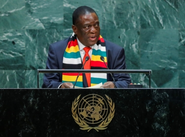 Zimbabwean President Emmerson Mnangagwa addresses the 74th session of the United Nations General Assembly at U.N. headquarters in New York City, New York, September 25, 2019, photo by Eduardo Munoz/Reuters