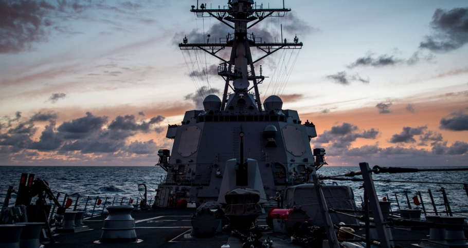 The guided-missile destroyer USS Dewey transits the Pacific Ocean while participating in Rim of the Pacific Exercise (RIMPAC)