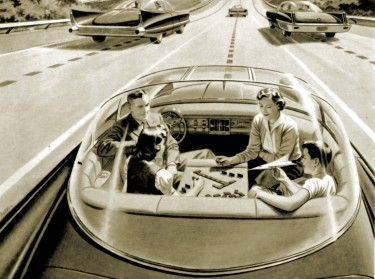 """Advertisement from 1957 for """"America's Independent Electric Light and Power Companies"""" showing an autonomous car"""
