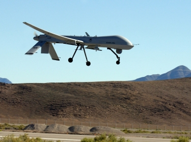 A U.S. Air Force MQ-1 Predator on its final approach to Indian Springs Auxiliary Field in Nevada