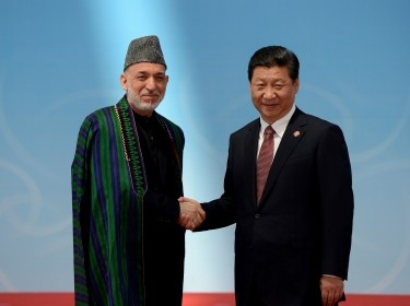 Afghanistan's President Hamid Karzai and his Chinese counterpart Xi Jinping shake hands before the opening ceremony of the fourth Conference on Int