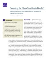 "Cover: Evaluating the ""Keep Your Health Plan Fix"""