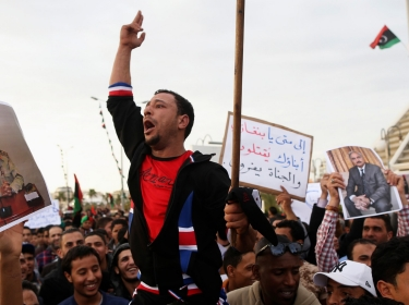 Libyans protesting against the General National Congress in Benghazi February 28, 2014