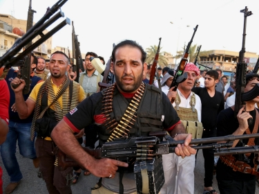 Iraqi Shiite tribal fighters in Baghdad