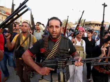 Iraqi Shiite tribal fighters in Baghdad