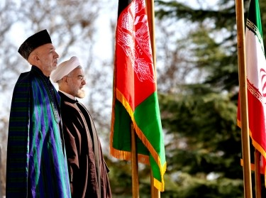 Afghanistan's President Hamid Karzai and Iran's President Hassan Rouhani