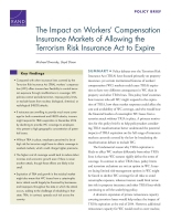 Cover: The Impact on Workers' Compensation Insurance Markets of Allowing the Terrorism Risk Insurance Act to Expire