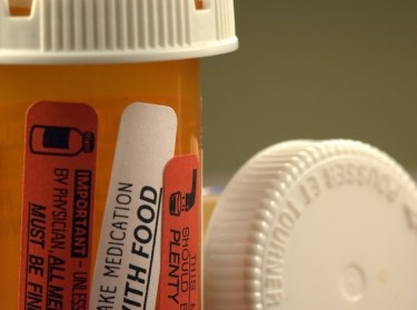 close up of pill bottles