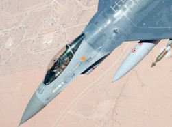 A Belgian Air Force F-16 over Ghardabiya Air Base, Libya, April 29, 2011