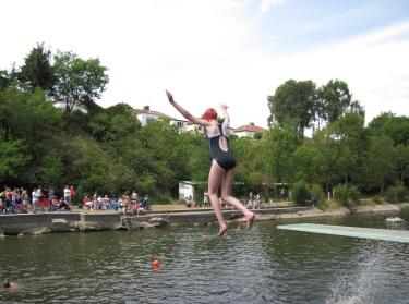 recreational swimming in a Bristol, UK, lake