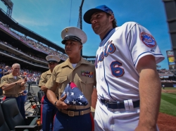 Sgt. Jaime Balderrama is honored by the New York Mets as Veteran of the Game, part of the Welcome Back Veterans initiative