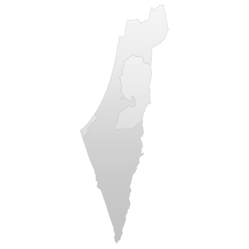 Map showing Gaza Strip, West Bank, Israel