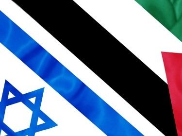An illustration of the Israeli and Palestinian flags