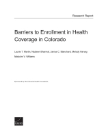 Cover: Barriers to Enrollment in Health Coverage in Colorado