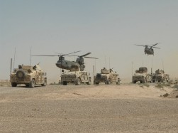 CH-47 Chinook helicopters land outside of the village of Abd al Hasan, Iraq, to pick up U.S. and Iraqi Army Soldiers