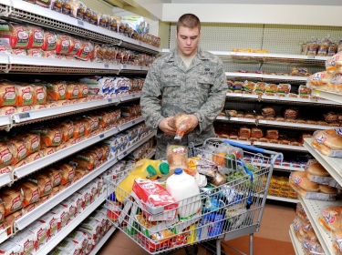 Air Force 2nd Lt. Ben Garland at the commissary on Scott Air Force Base, Illinois, March 9, 2012