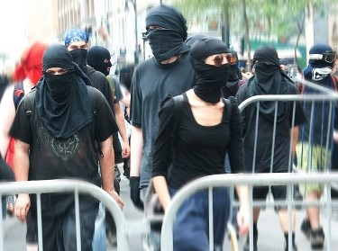 Masked protesters