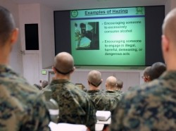 Recruits watch an anti-hazing presentation in San Diego, California, November 2012