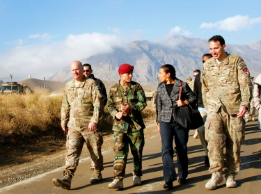 U.S. National Security Adviser Susan Rice visits Camp Commando near Kabul, Afghanistan to discuss the state of Afghan Special Forces with mentors to the Afghan National Army Special Operations Command on Nov. 24, 2013