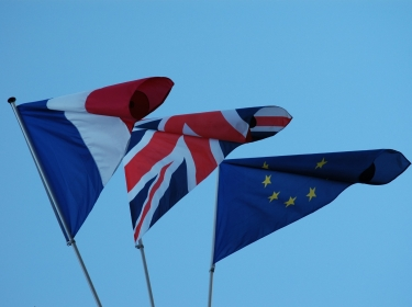 French, British, and EU flags
