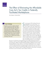 Cover: The Effect of Eliminating the Affordable Care Act's Tax Credits in Federally Facilitated Marketplaces
