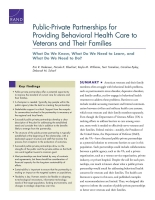 Cover: Public-Private Partnerships for Providing Behavioral Health Care to Veterans and Their Families
