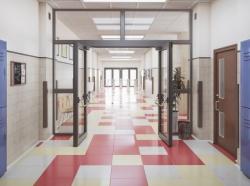 School hallway interior, photo by urfinguss/Getty Images