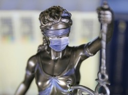 A statue of Lady Justice wearing a face mask, photos by Ulf, Honcharuk/Adobe Stock; design by Peter Soriano/RAND Corporation