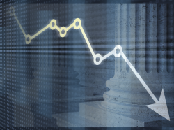 A line chart indicating a decline, with a government building in the background, images by Naypong Studio/Adobe Stock; design by Pete Soriano
