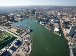 Aerial view of Baltimore, Maryland, photo by Jupiterimages/Getty Images