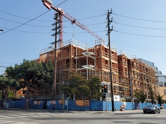 Construction of the Missouri Place housing project in Los Angeles, California, photo by Steven Sharp/Urbanize LA