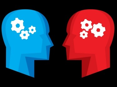 Red and blue profiles with thinking gears in their heads, illustration by JakeOlimb/Getty Images