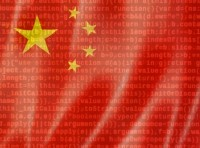 Chinese flag with JavaScript code in the background, photos by daboost and mehaniq41/Adobe Stock