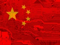 China's flag superimposed over a computer chip, illustration by IvancoVlad/Getty Images