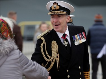 First Sea Lord Admiral Tony Radakin CB ADC Speaks to guests as HMS Prince of Wales arrives in Portsmouth, photo by LPhot Ben Corbett/Royal Navy Imagery Database