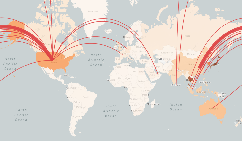 A global heat map of inbound COVID-19 risk is overlaid with red lines showing air travel routes to the United States. Described by the paragraph preceding this figure.